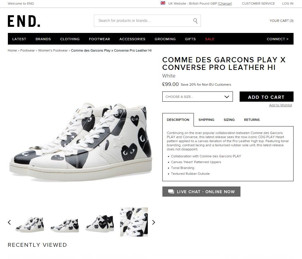 Comme des Garcons Play x Converse Pro 皮鞋