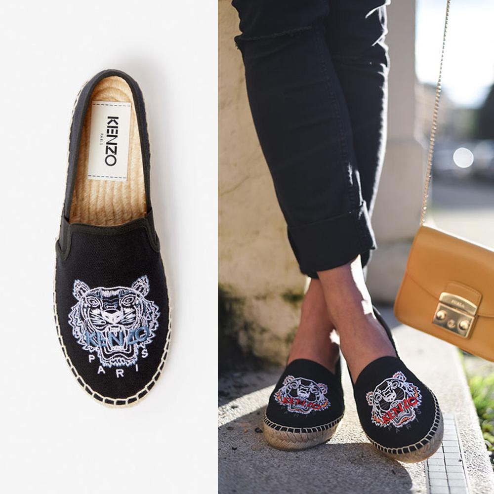 網購KENZO老虎刺繡草編鞋低至HK$1,081+免費直運香港/澳門